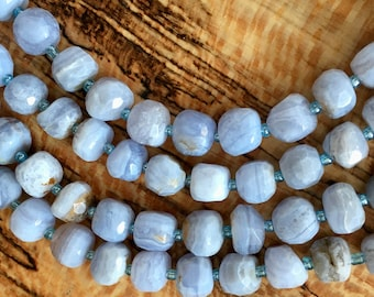 Blue Lace Agate Natural Gemstone Rounded Faceted Nuggets 10mm to 12mm 8 inch strand Approx 17 pcs