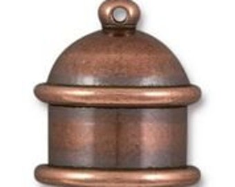Cord End Tierra Cast Antique Copper Pagoda Recessed Channel for Leather Kumihimo 10mm ID 2 pcs