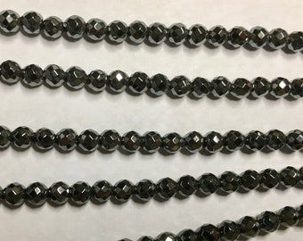 Hematite 4mm Faceted Gemstone Round Beads Approx 50 Beads