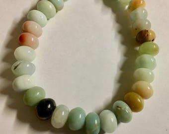 Amazonite Gemstone Beads 6x8mm Multicolor Rondelles Approx 36 Per 8 Inch Strand