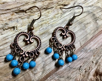 Boho Antique Copper Heart Connector Vintage Inspired Earrings with Heart Filigree Pattern 5 Dangle Turquoise Magnesite