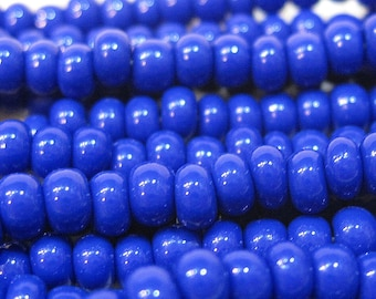 6/0 Blue Opaque Genuine Czech Glass Preciosa Rocaille Seed Beads 6 Strand Half Hank 72 grams