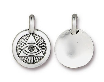 2 Eye of Providence Charms Yoga Meditation Antique Silver Small Lotus Charms TierraCast Lead Free Pewter 17mm x 12mm 2 pcs F452F