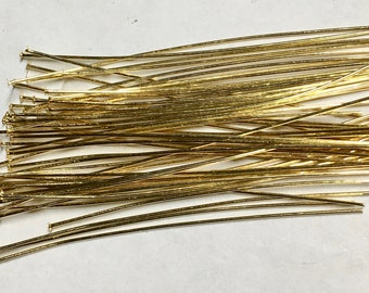 2 Inch Gold Plated Headpins Two inches 24 gauge Made in the USA 20 or 40 pcs  F559