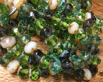 Peridot Aqua Montana Blue White Opalite Mix with Picasso Czech Pressed Glass Large Faceted Rondelles 6mm x 8mm 25 beads 0698