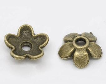 Flower Bead Caps Antique Bronze Tone 5 Petal Daisy Flower Floral Bead Caps 6mm x 6mm 50 pcs F354B