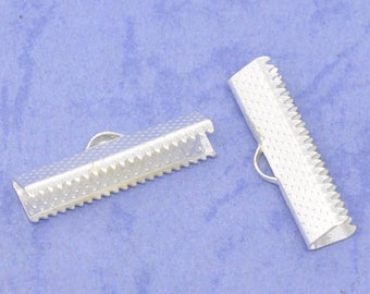 20 Textured Silver Tone Ribbon Clamp Clasps Crimp End Clasps with Loop 25mm F141