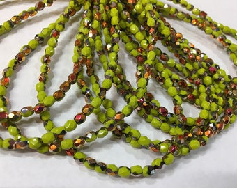 4mm Avocado Olive Green with Copper Orange/ Silver Metallic Czech Glass Firepolished Crystal Beads 4mm