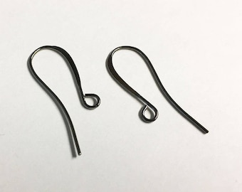Elegant Black Oxide French Hook Fish hook Earwires 26mm 12 pairs F437