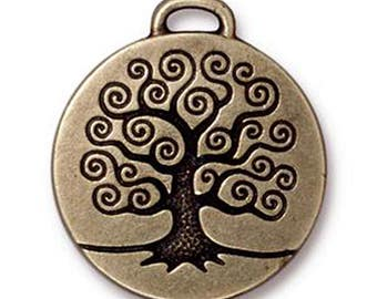 1 TierraCast Antique Bronze Tree of Life Pendants Oxidized Brass 26.5mm x 23.5mm F563E