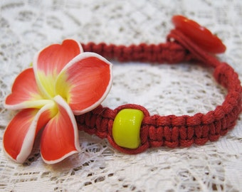 Clearance Macrame Bracelet Kit Waxed Cotton Red Plumeria Polymer Clay Flower All Materials Included