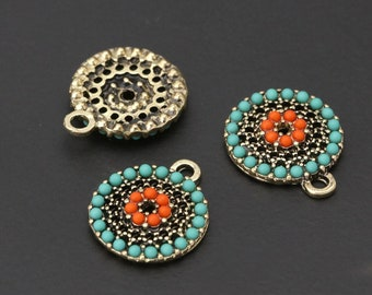 2 Beaded Beachy Textured Coin Charms 14x16mm Zola Elements Turquoise Coral Antique Gold Finish 2 pcs F223I