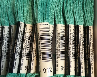 DMC 912 Light Emerald Green Embroidery Floss 2 Skeins 6 Strand Thread for Embroidery Cross Stitch Needlepoint Sewing Beading