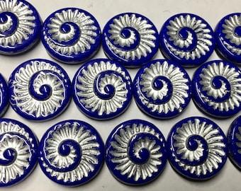 6 Sapphire Blue Silver Patina Spiral Beads Czech Glass Round Coin Ammonite Nautilus Shell Swirl Beads 18mm 6 pcs