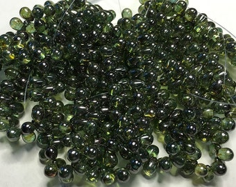 50 Lumi Dark Green Transparent Czech Pressed Glass Teardrop Beads 5mm x 7mm