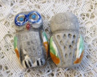 Owl Gray Peruvian Ceramic Owl Beads 20mm x 14mm 4 beads Last Ones