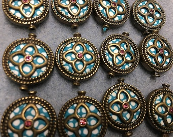 Aqua Blue White Polymer Clay with Rhinestone Centers Antique Brass Detail Double Sided Flat Round 19mm 2 beads