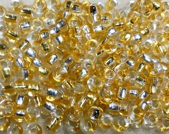 6/0 Straw Gold Crystal Silver Lined Two Toned Rococo Japanese Glass Seed Beads 6 inch tube 28 grams #870