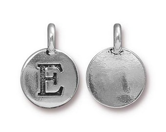 "Letter ""E"" Initial Pendant Tiny Silver Charm TierraCast Antique Silver Alphabet Charms Lead Free Pewter 16.5x11.5mm One Charm F293"