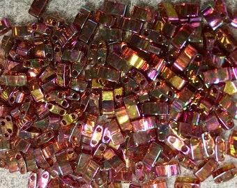 Rose Gold Luster Miyuki Half Tila 5mm x 2.3mm x 1.9mm Glass Beads 7.2 grams