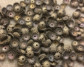 50 Antique Brass Small Fluted Caps 6mm Made in USA 50 pcs F382A