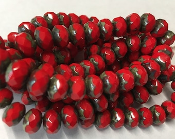 Red Picasso Czech Pressed Glass Large Faceted Rondelles 6mm x 8mm 25 beads