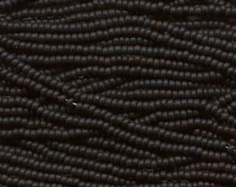 8/0 Jet Black Opaque Genuine Czech Glass Preciosa Rocaille Seed Beads 41 grams