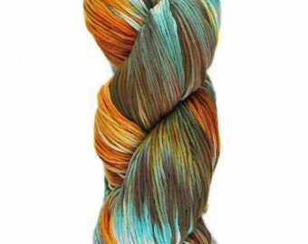 Yumbrel DK Handpainted by Araucania Shades of Orange, Teal, Brown DK Weight Yarn 218 yards 100% Combed Cotton color 03
