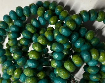 Turquoise Chartreuse Matte Czech Pressed Glass Small Faceted Rondelles 3mm x 5mm 30 beads