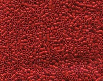 11/0 Miyuki Delica Opaque Dark Cranberry Red Glass Seed Beads 7.2 grams DB0723