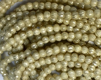 Melon Beads Ivory with Mercury-Look Finish Czech Pressed Glass Round Beads 3mm 50 beads