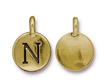 "Letter ""N"" Initial Pendant Tiny Gold Charm TierraCast Antique Gold Alphabet Charms TierraCast Lead Free Pewter 16.5x11.5mm One Charm"