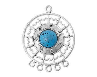 Ornate Blue Turquoise Silver Plated Southwestern Connector Pendant with 5 loops 31mm x 39mm C172