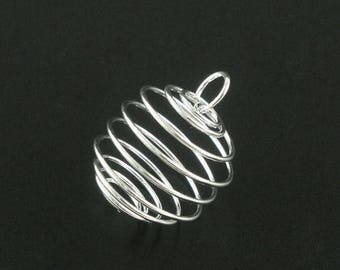Clearance 20 Bead Cage Pendant Charm Silver Plated Spiral with Loop 25x20mm C410
