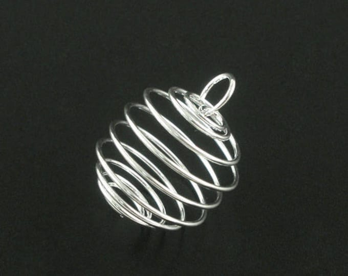 Featured listing image: Clearance 20 Bead Cage Pendant Charm Silver Plated Spiral with Loop 25x20mm C410