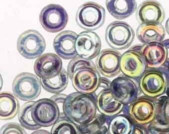 O Beads Crystal Blue Rainbow Czech Glass Donut Ring Beads 3.8 x 1mm 8.1 grams