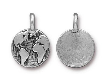 Antique Silver Earth Charm TierraCast Lead Free Pewter 16.5x11.5mm One charm F452D
