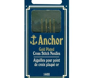Needles for Cross Stitch Anchor Gold Plated Large Eye 4 Needles Size 24