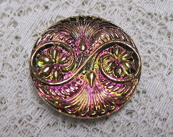Large Vitrial Pink Gold Button Czech Glass Art Deco Owl Design with Metal Shank 32mm