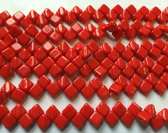 Red Opaque Two Hole Silky Czech Pressed Glass 6mm Two Hole Angled Square Beads 40 pcs