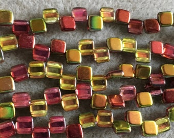 Crystal Gold Pink CzechMates Two Hole Tile Beads Czech Pressed Glass Square Beads 6mm 25 beads