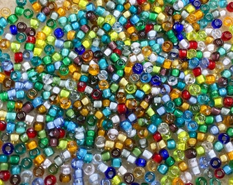 11/0 Crystal Color Lined Bold Mix Japanese Seed Beads 6 Inch Tube 28 grams