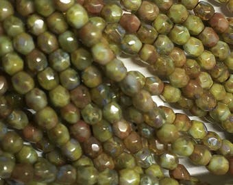 Green with Picasso Czech Glass Firepolished Crystal Beads 3mm 50 beads