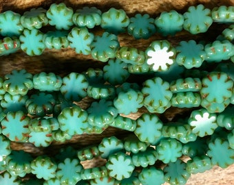 25 Cactus Flower Green Turquoise Czech Pressed Glass Flat Flower Beads with Picasso Edges 9x3mm