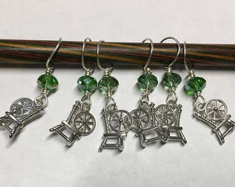 Spinning Wheel Stitch Markers Silver with Green Glass Crystal Beads Snag Free Large Stitch Markers Up to Size 15 Needles Set of 6