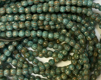Melon Beads Blue Turquoise with Picasso Czech Pressed Glass Round Beads 3mm 50 beads