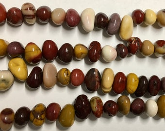 Mookaite Variable Gemstone Center Drilled Pebbles About 12x8mm Approx 30 beads 8 Inch strand