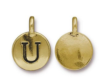 "Letter ""U"" Initial Pendant Tiny Gold Charm TierraCast Antique Gold Alphabet Charms TierraCast Lead Free Pewter 16.5x11.5mm One Charm"