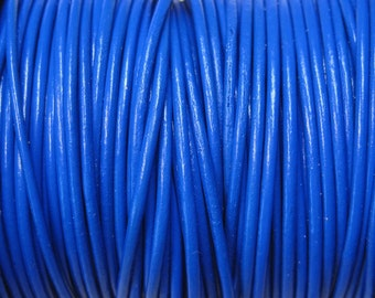 1mm Royal Blue Round Leather Cord 2 yards for Wrap Bracelets Macrame Knotting Jewelry