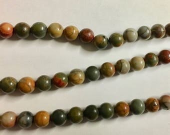 Red Creek Jasper Gemstone Beads Smooth Rounds 6mm 8 inch strand Approx 30 pcs per strand